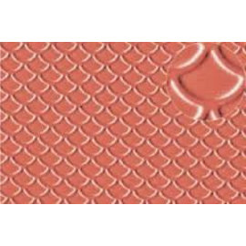 Slater's Plastikard Builder Sheet embossed with roofing tile scalloped shell in stone red, H0/OO gauge, plastic