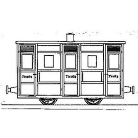 """Parkside Dundas Parkside Dundas DM43 """"Festiniog & Blaenau 4 Wheel 3rd Class Coach"""" (Spur OO9/HOe)"""