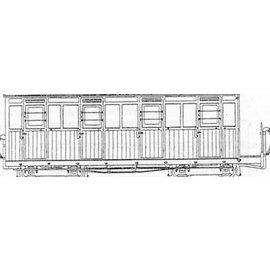 """Parkside Dundas Parkside Dundas DM61 """"Festiniog (Style) 4 Compartment Planked Composite Bogie Coach"""" (gauge OO9/HOe)"""