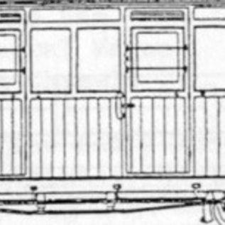 """Parkside Dundas Parkside Dundas DM61 """"Festiniog (Style) 4 Compartment Planked Composite Bogie Coach"""" (Spur OO9/HOe)"""