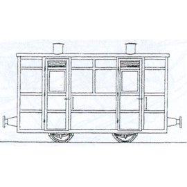 "Parkside Dundas Parkside Dundas DM67 ""Victorian Two Compartment Panelled 4 Wheel Coach"" (gauge OO9/HOe)"