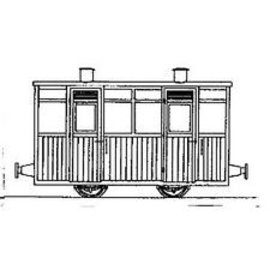 "Parkside Dundas Parkside Dundas DM68 ""Victorian Two Compartment Planked 4 Wheel Coach"" (schaal OO9/HOe)"