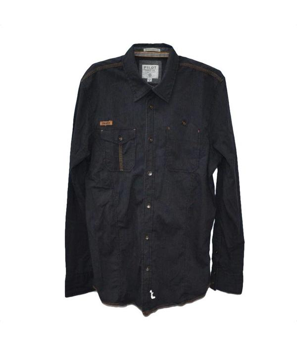 Tientje of minder Donker gestreept overhemd (M)
