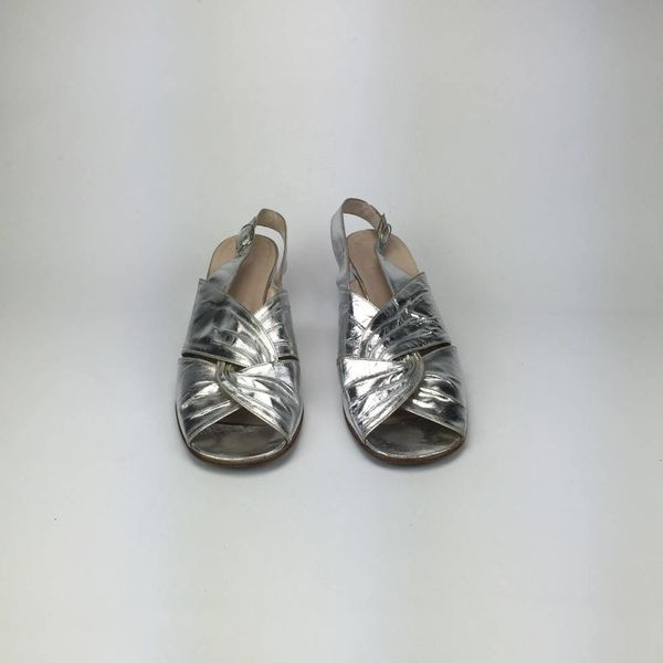 Zilveren glanzende sandalen (38)