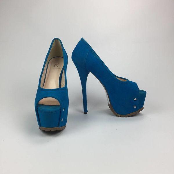 Hoge blauwe pumps (38)