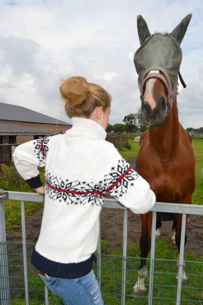 Weißer Pullover mit doppeltem Strickkragen und gestricktem Norwegermuster