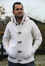 Strickjacke mit Kapuze  Weiß