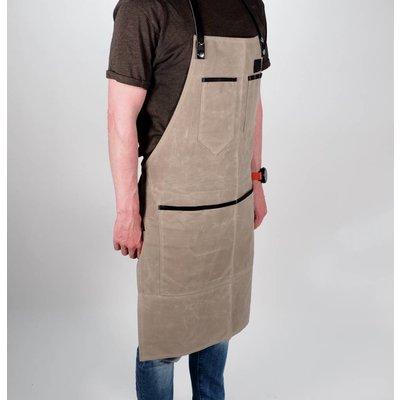 Grill Guru BBQ Schort Dyed Canvas & Leather Beige
