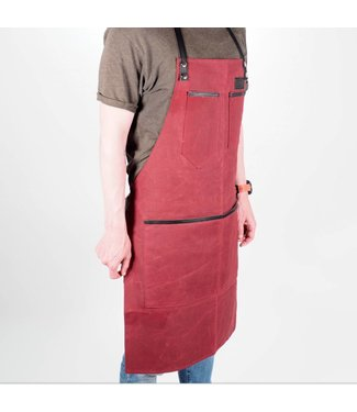 Grill Guru BBQ Schort Dyed Canvas & Leather Rood