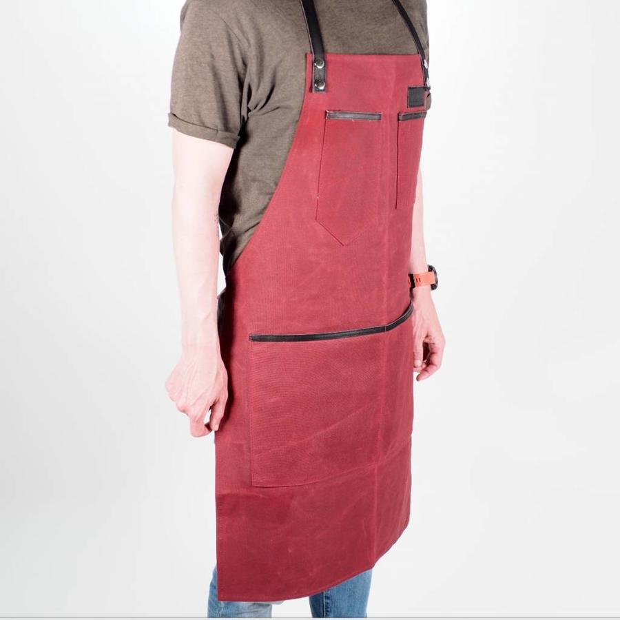 Grill Guru BBQ Schort Dyed Canvas & Leather Rood