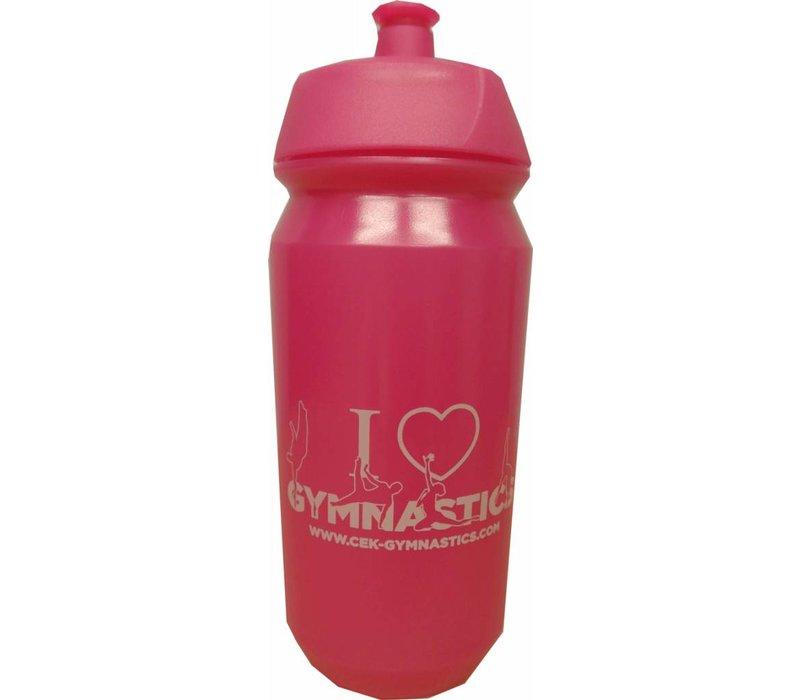 Botella rosada con la impresión