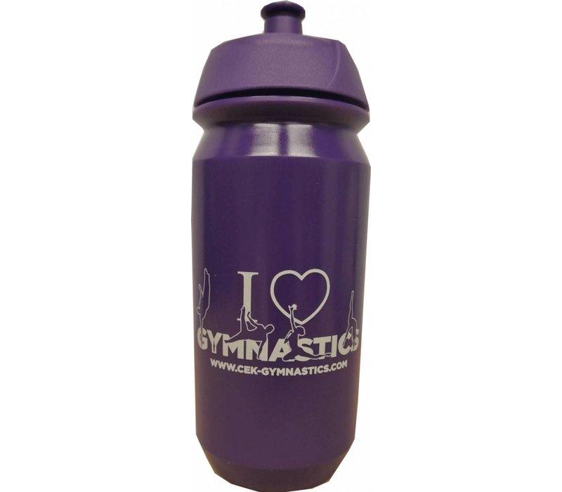 botella púrpura con la impresión