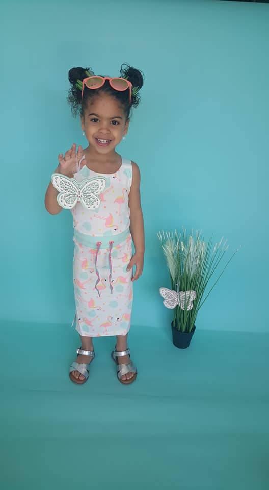 Lange jurk Bampidano  flamingo