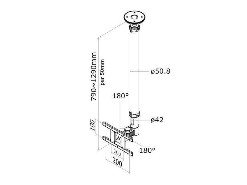 Newstar Newstar FPMA-C100WHITE flat panel plafond steun