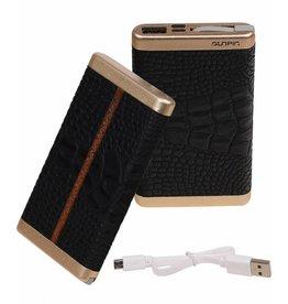 Power Bank D610 met ingebouwd iPhone kabel 6000mAh Zwart