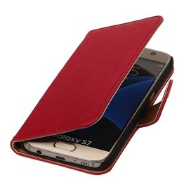 Washed Leer Bookstyle Hoes voor Galaxy S7 G930F Roze