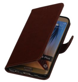 TPU Bookstyle Hoes voor Galaxy S6 Edge Plus G928F Bruin