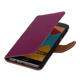 Washed Leer Bookstyle Hoes voor Galaxy A7 Paars