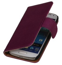 Washed Leer Bookstyle Hoes voor Galaxy S Advance i9070 Paars