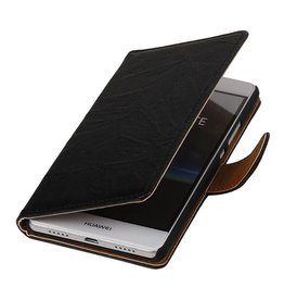 Washed Leer Bookstyle Hoes voor Huawei Ascend G700 Zwart