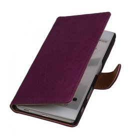 Washed Leer Bookstyle Hoesje voor HTC One Mini M4 Paars