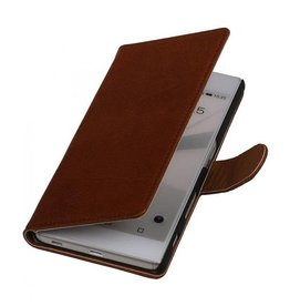 Washed Leer Bookstyle Hoesje voor HTC One Mini M4 Bruin