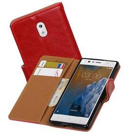 Zakelijke Bookstyle Hoesje voor Nokia 3 Rood