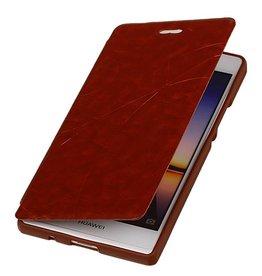 Easy TPU Booktype hoesje voor Huawei Ascend P6 Bruin