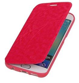 Easy Booktype hoesje voor Galaxy S6 Edge G925 Roze