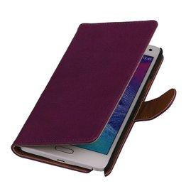 Washed Leer Bookstyle Hoesje voor Galaxy Note 2 N7100 Paars