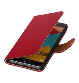 Washed Leer Bookstyle Hoesje voor Galaxy A7 Roze