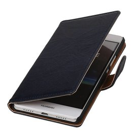 Washed Leer Bookstyle Hoesje voor Huawei Ascend G730 Donker Blauw