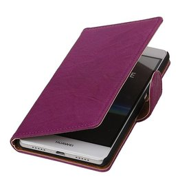 Washed Leer Bookstyle Hoesje voor Huawei Ascend G730 Paars