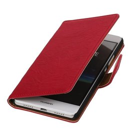 Washed Leer Bookstyle Hoesje voor Huawei Ascend G730 Roze