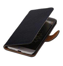 Washed Leer Bookstyle Hoesje voor LG Optimus L9 II D605 Donker Blauw