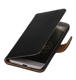 Washed Leer Bookstyle Hoesje voor LG L65 Zwart