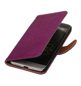 Washed Leer Bookstyle Hoesje voor LG L65 Paars