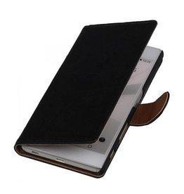 Washed Leer Bookstyle Hoesje voor Huawei Ascend Y530 Zwart