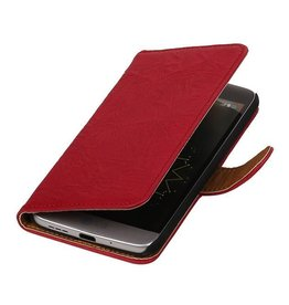 Washed Leer Bookstyle Hoesje voor HTC One M7 Roze