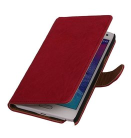 Washed Leer Bookstyle Hoesje voor Galaxy Ace 2 i8160 Roze