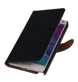 Washed Leer Bookstyle Hoesje voor Galaxy Ace Plus S7500 Donker Blauw