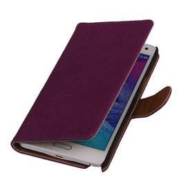 Washed Leer Bookstyle Hoesje voor Galaxy Ace Plus S7500 Paars