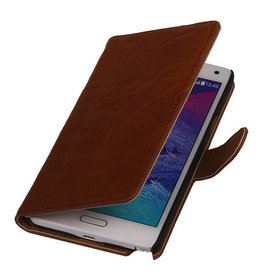 Washed Leer Bookstyle Hoesje voor Galaxy Ace Plus S7500 Bruin