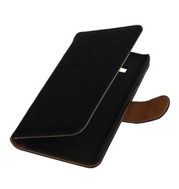 Washed Leer Bookstyle Hoes voor Samsung Z1 Z130H Zwart