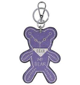 Trendy tas sleutelhanger met een Teddybear Paars
