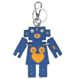 Trendy tas sleutelhanger met een Robot Blauw