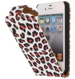 Luipaard Classic Flip Case Hoes voor iPhone 4 Rood