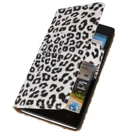 Luipaard Bookstyle Case Hoes voor Huawei Ascend G700 Wit