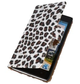 Luipaard Bookstyle Case Hoes voor Huawei Ascend G700 Bruin