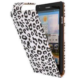 Luipaard Classic Flip Case Hoes voor Huawei Ascend G700 Wit